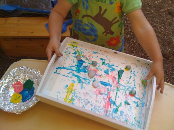 Fun Kids Art Activity with Rolling Rocks | TinkerLab.com