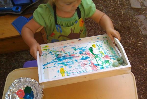 Fun Kids Art Activity with Rolling Rocks | TinkerLab.com
