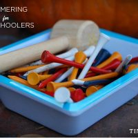 Hammering for Preschoolers - an easy introduction to making and tinkering for young children