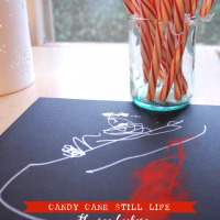 candy cane still life preschool winter craft