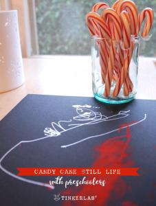 candy cane still life preschool winter craft