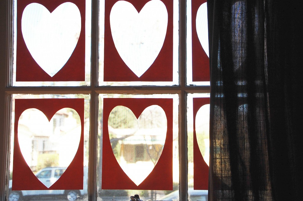 Handmade Valentine Cards: Making window decoration from our scraps
