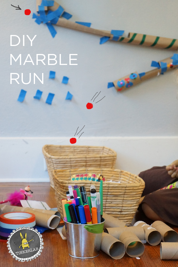Easy DIY Marble Run that helps children practice problem solving and develop creative thinking skills | TinkerLab.com