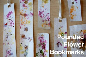 pounded flower bookmarks