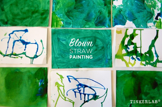 Blown straw painting kids