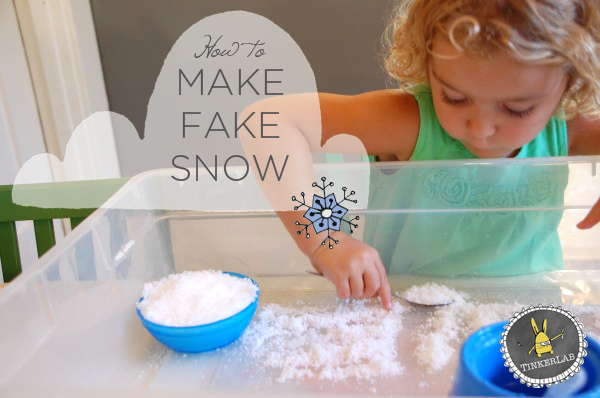 How to make fake snow: a cool experiment with kids  |  Tinkerlab.com