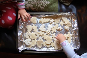 dry salt dough ornaments cookie sheet