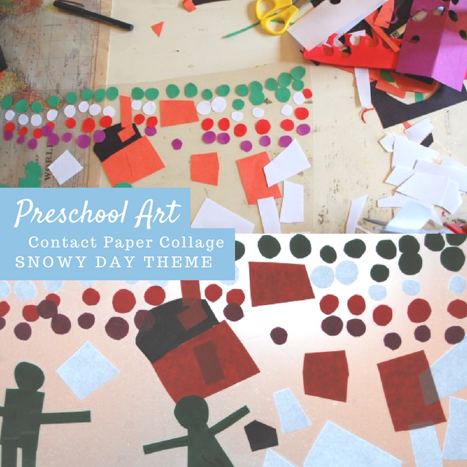 Preschool Art Collage Project Snow Scene with Contact Paper