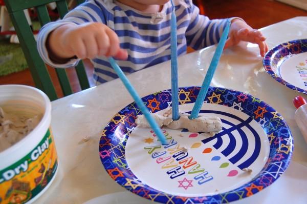 air dry clay menorah with toddler