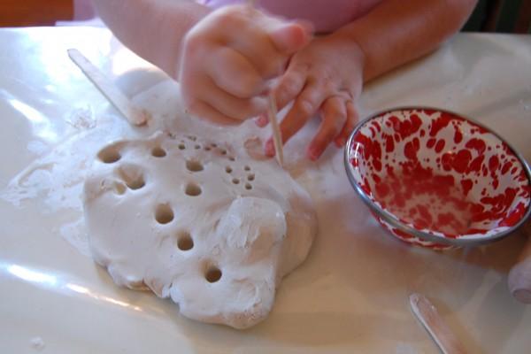 air dry clay menorah with kids