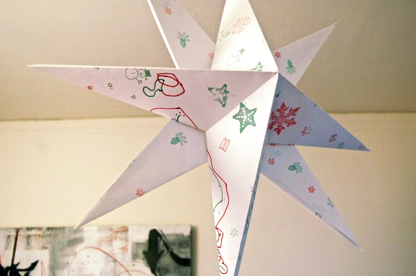 hanging paper star diy