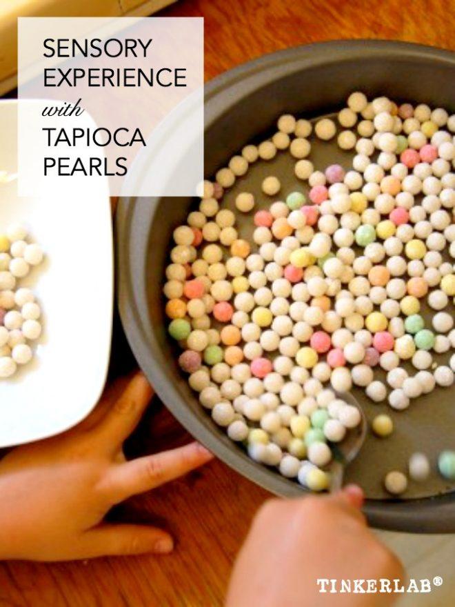 Sensory experience with tapioca pearls TinkerLab
