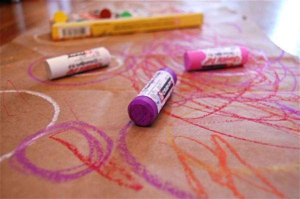 paper bag art oil pastels