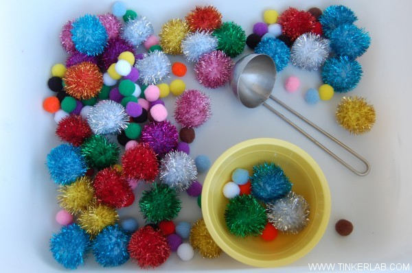 toddler invitation to play with pom poms