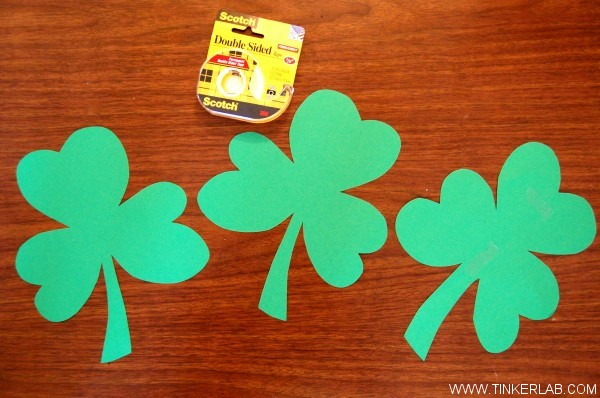 cut out shamrocks for photo booth