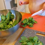 chopping salad with toddler