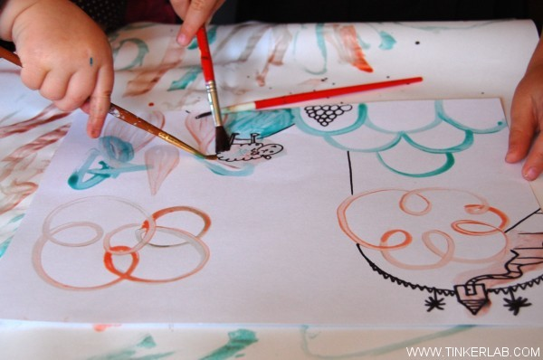 kids paint with homemade egg tempera paint