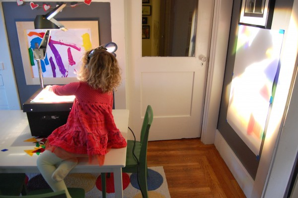 overhead projector with kids
