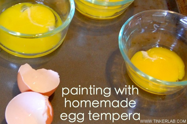 How to make homemade tempera paint with just eggs and food coloring.
