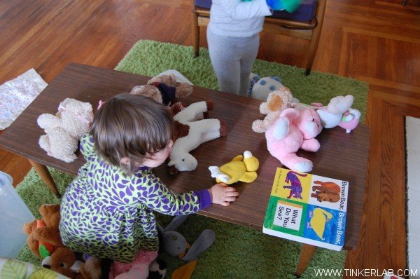 reading with props stuffed animals