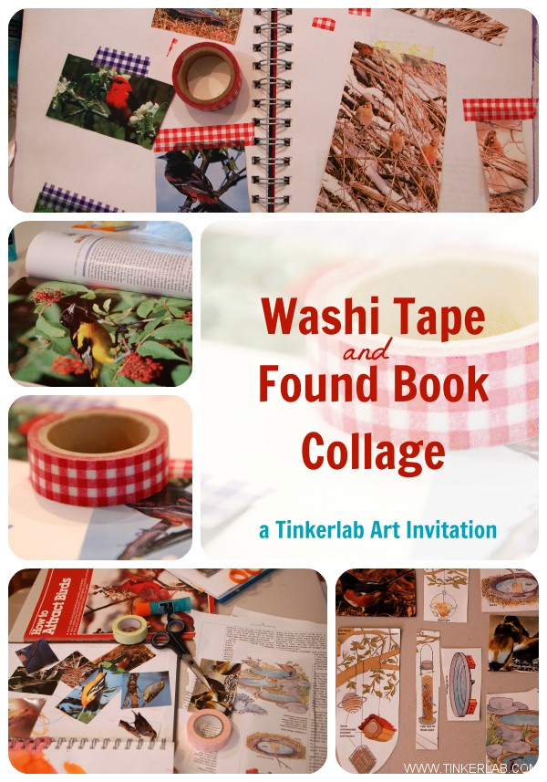 Washi tape and found book collage. A Tinkerlab Art Invitation.