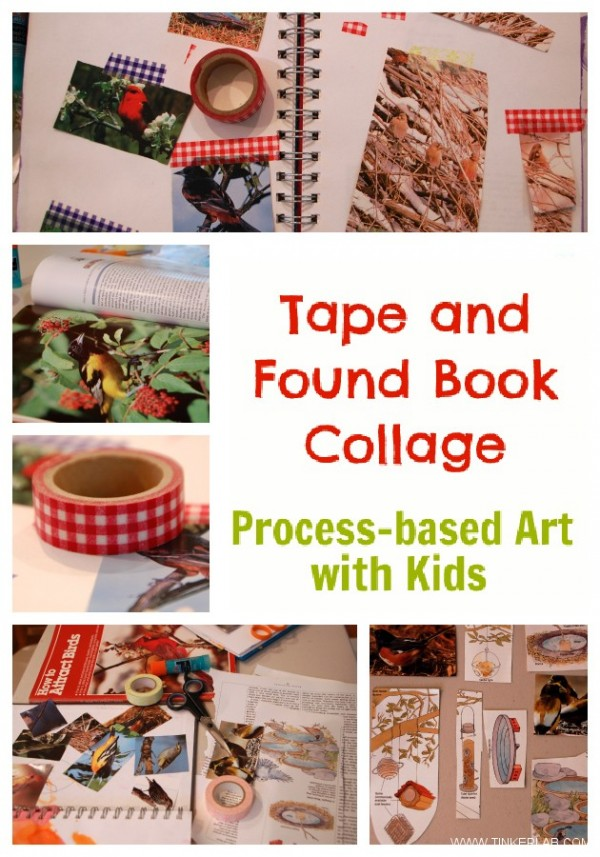 tape and found book collage process based art with kids