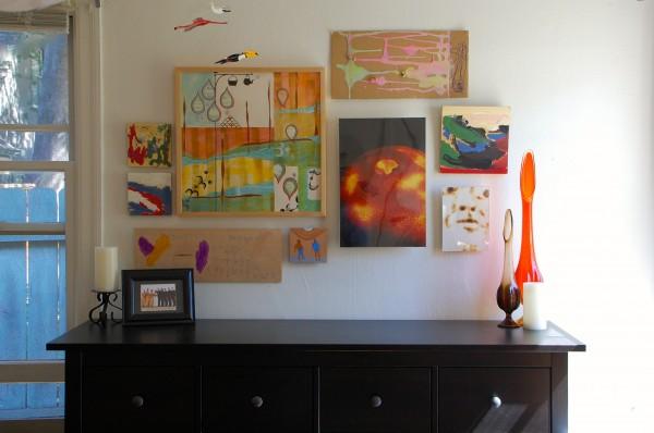 art hanging in bedroom