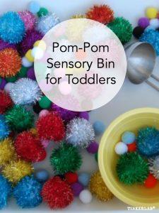 Pom pom sensory bin for Toddlers