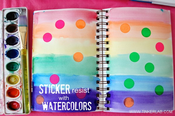 Sticker resist with watercolors