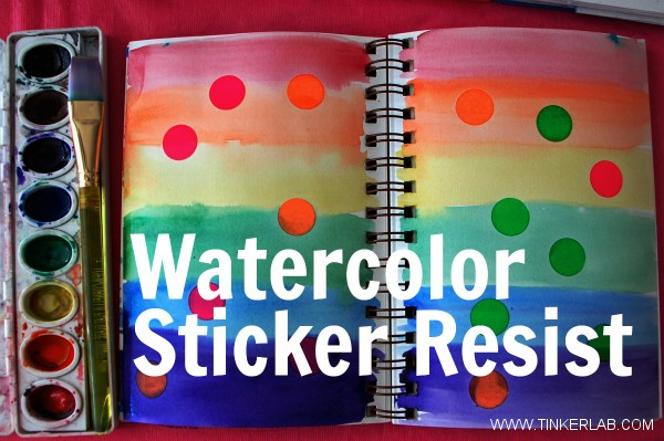 Watercolor sticker resist