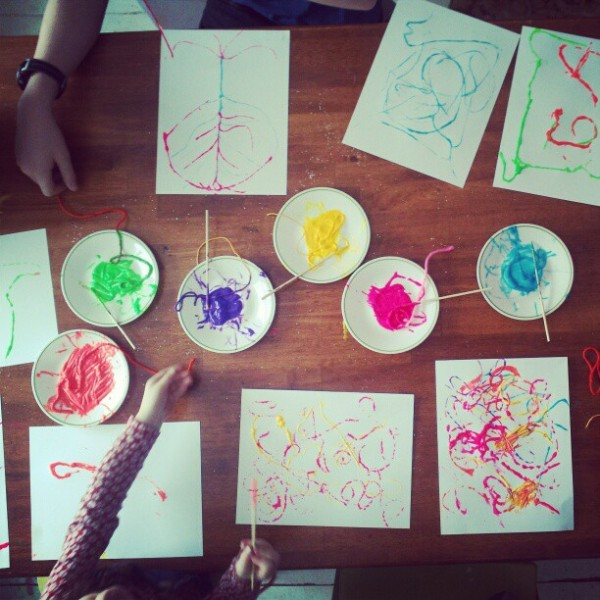 Painting with string from the Creative Table Project