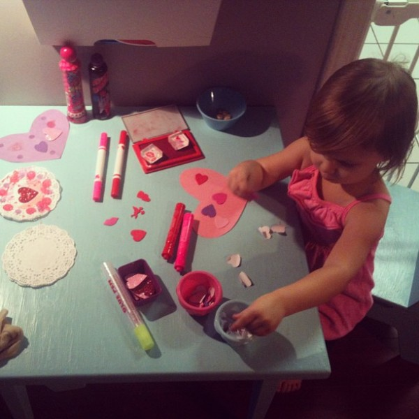 Making homemade Valentines on the Creative Table Project on Tinkerlab