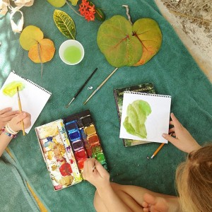 Painting Leaves Outdoors with Kids