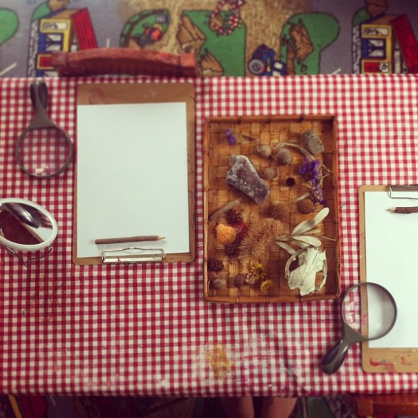 Discovery table with magnifying glasses
