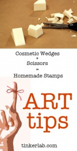Art tip: Upcycle cosmetic wedges as inexpensive stamps