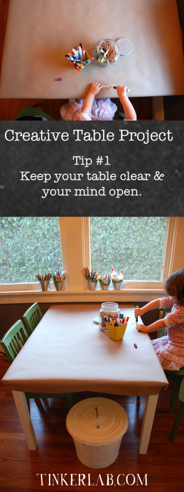 Keep your table clear and your mind open: The Creative Table Project from Tinkerlab