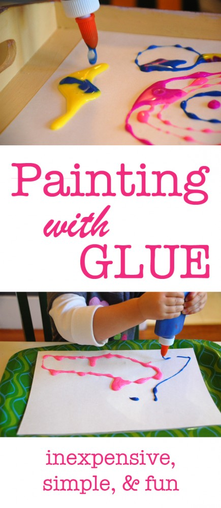 Paint with colored glue | Tinkerlab.com