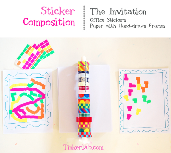 Sticker composition that encourages creativity for kids | TinkerLab.com
