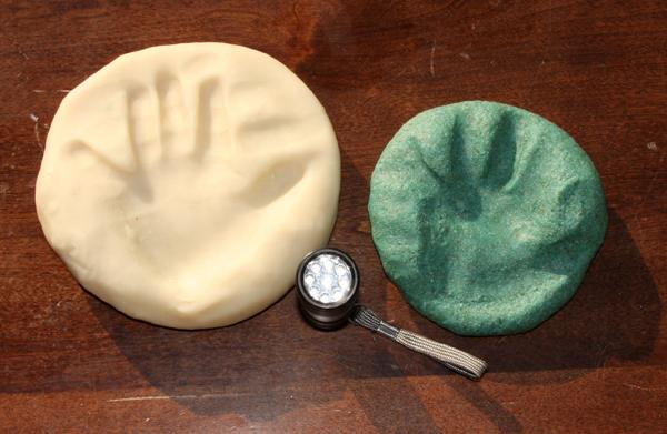 glow playdough with handprints | tinkerlab.com