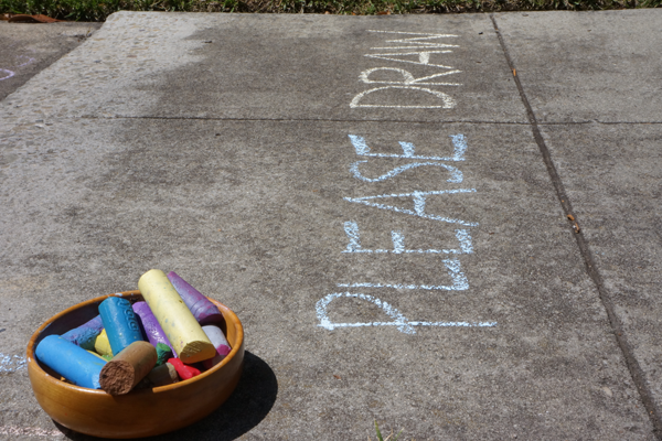 Please Draw Prompt with sidewalk chalk