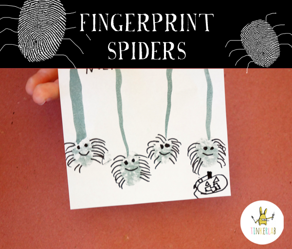 Fingerprint Spiders for Halloween | Tinkerlab