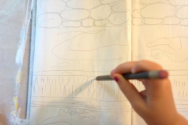 sketchbook gesso drawing
