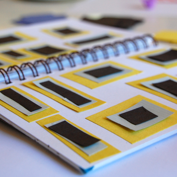 sketchbook pattern with paper