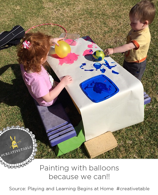 Painting on Balloons because we can #creativetable via Playing and Learning Begins at Home