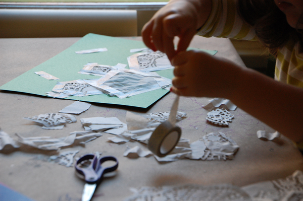 Creative Table with Doilies and Clear tape