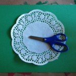 Doilies and Clear tape set up