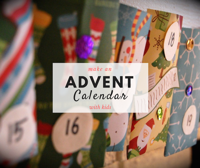 A handmade advent calendar with kids