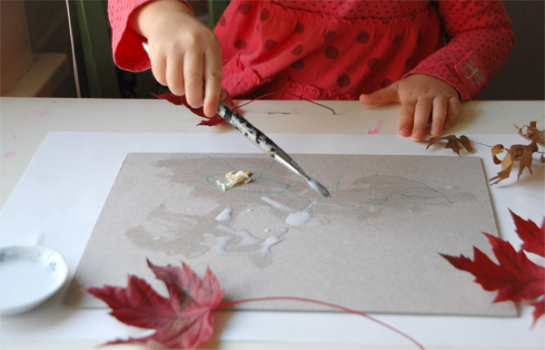 leaves and glue painting