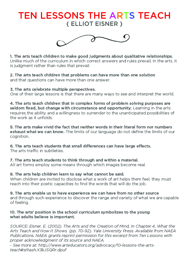10 Lessons the Arts Teach by Elliot Eisner, Arts Education Leader and Visionary - TinkerLab