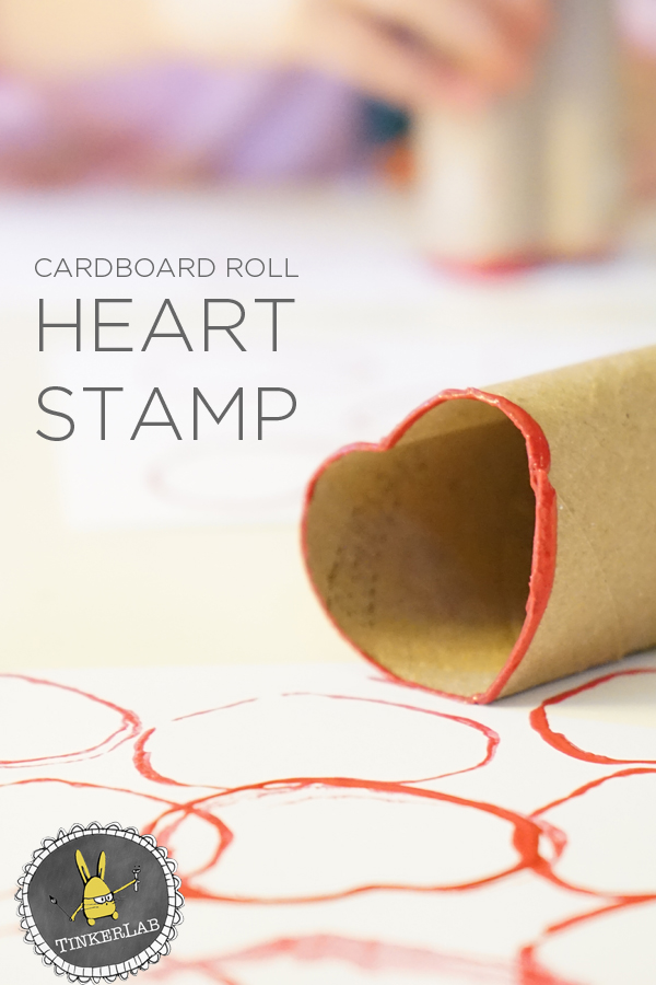 Kids Art Project | Simple and Colorful Cardboard Roll Heart Stamps with Kids | TinkerLab